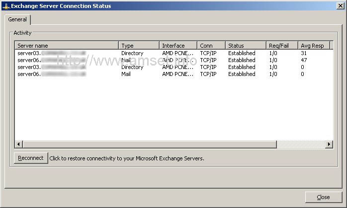 """Exchange Server Connection Status - RPC over HTTP - Note the TCP/IP in the """"Conn"""" Column"""