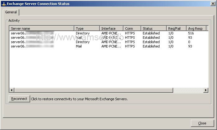 """Exchange Server Connection Status - RPC over HTTP - Note the HTTPS in the """"Conn"""" Column"""