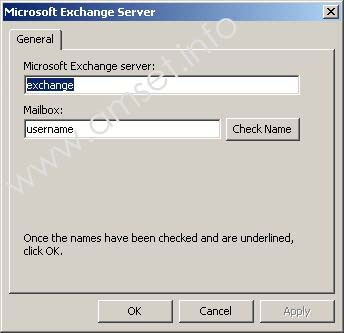 Screenshot: Microsoft Exchange: Confirm servername and username