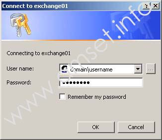 Screenshot: Username and Password Entry