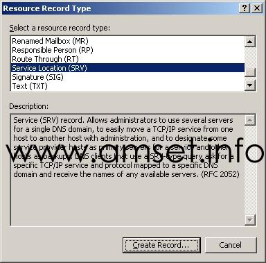 Fig 1: Select Resource Record Type