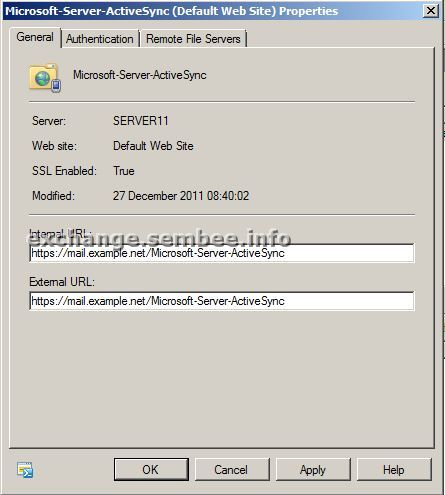 Fig 5: Properties of the Microsoft Server ActiveSync Virtual Directory