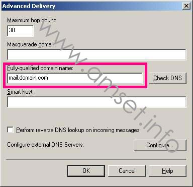 Screenshot: Advanced Delivery showng completed FQDN