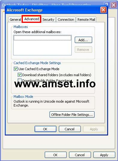 Screenshot - Fig 4: Click on the Advanced TAB and then choose Add... to add the mailbox