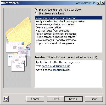 Screenshot - Outlook - Rules Wizard - Templates
