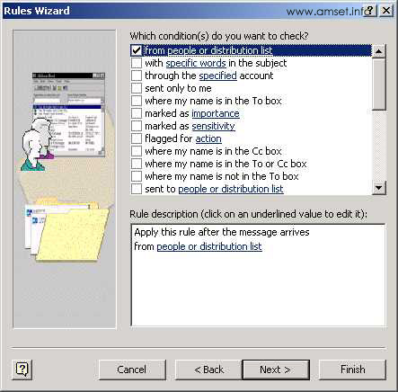 Screenshot - Outlook - Rules Wizard - Choose Your Condition