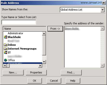 Screenshot - Outlook - Rules Wizard - Rules Address