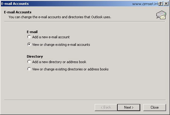 Email Accounts - Change Options