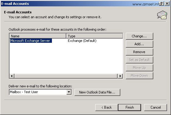 Email Accounts - Choose Account to Modify